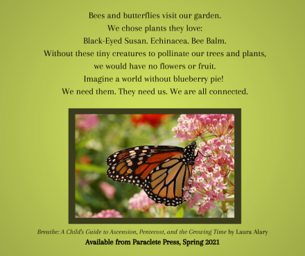 Bees and butterflies visit our garden. We chose plants they love_Black-Eyed Susan. Echinacea. Bee Balm.Without these tiny creatures to pollinate our trees and plants,we would have no flowers or fruit.Imagine a world
